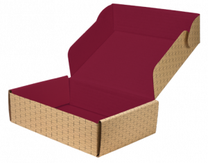 corrugated box printed both inside and out with pattern on outside and solid color inside.